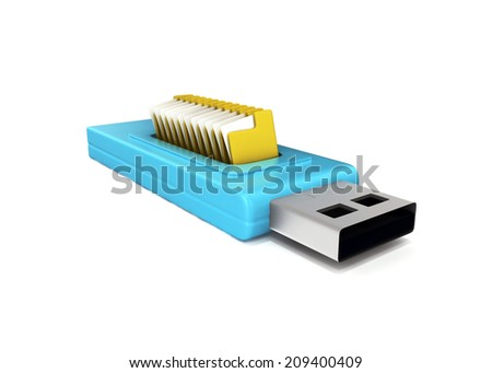 3d usb drive that contains data folders - stock photo