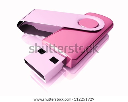 3D USB Flash Drive isolated on white background