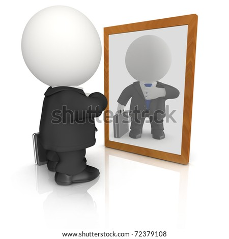 3D vain business man looking in the mirror - isolated - stock photo