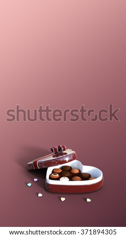3d Valentine's Day chocolate gift set on pastel gradient background. Heart shaped  candy box with chocolates. - stock photo
