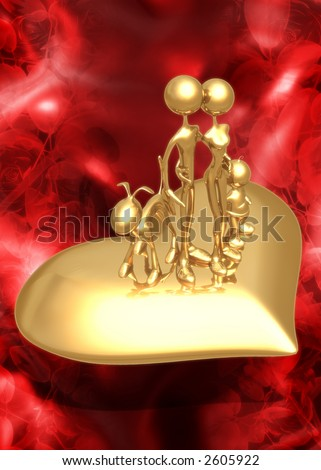 3D Valentine's Day Concept Family On Heart - stock photo