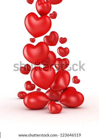 3D valentines day hearts falls isolated - stock photo