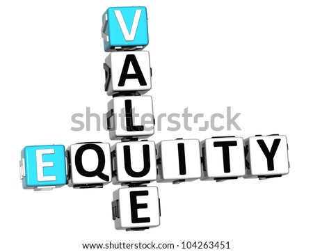 3D Value Equity Crossword on white background - stock photo