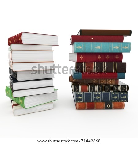 3d various books pile isolated on white - stock photo