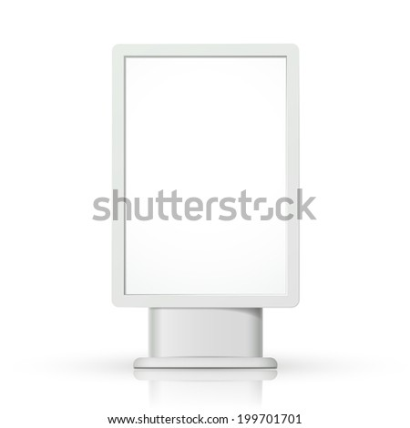 3d vertical blank lightbox template on white background - stock photo
