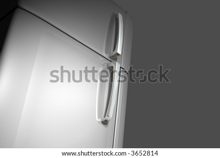 3D very realistic refrigerator door with two magnets and two white surfaces like photo o post-it papers - stock photo