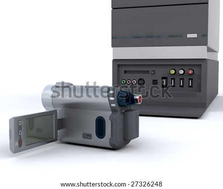 3D video camera equipment isolated over white
