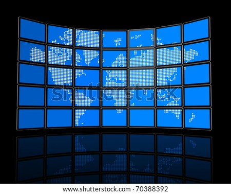 3D video wall of flat tv screens with world map, isolated on black. With 2 clipping paths : global scene clipping path and screens clipping path to place your designs or pictures