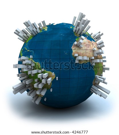 3D view of the Earth globe filled with lots of grey skyscrapers. - stock photo