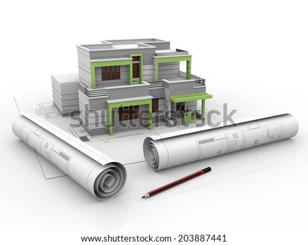 3D view of the new house on architect drawing  - stock photo