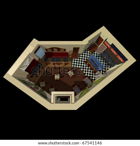 3D view on the layout of coffee house with design of decoration and furniture.