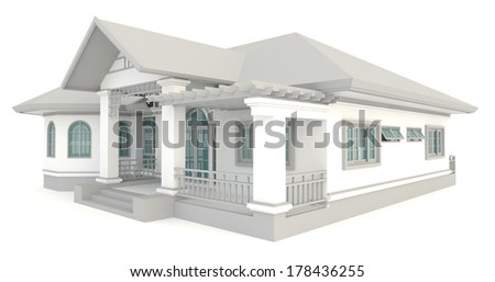 3D vintage house exterior design in isolated background, create by 3D  - stock photo