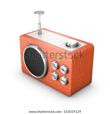 3D vintage touch radio receiver - stock photo