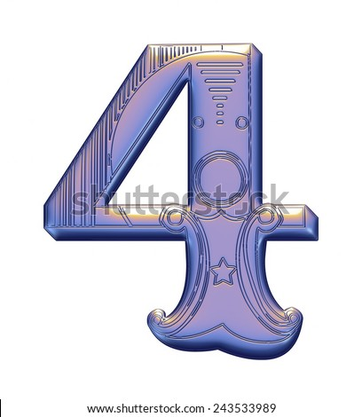 3D violet Number 4 on isolated white background. - stock photo