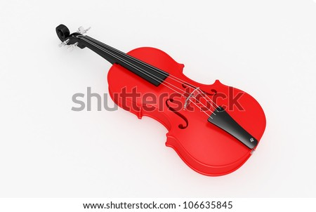 3d violin isolated on white background