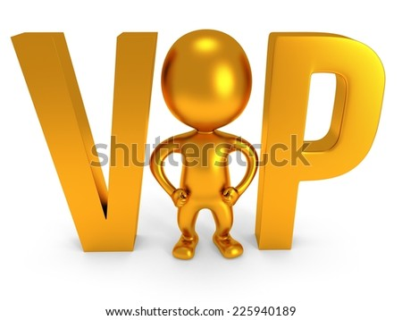 3d VIP man - human and huge letters. Isolated on white. - stock photo