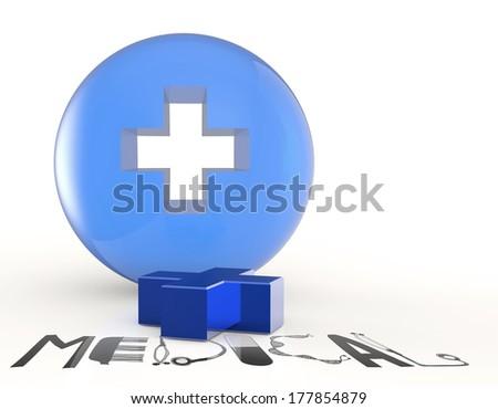 3d virtual medical symbol and text design MEDICAL as concept - stock photo