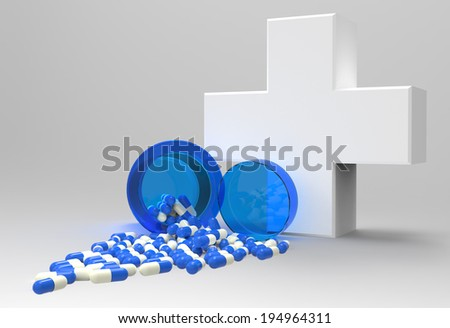 3d virtual medical symbol with capsule pills  as concept  - stock photo