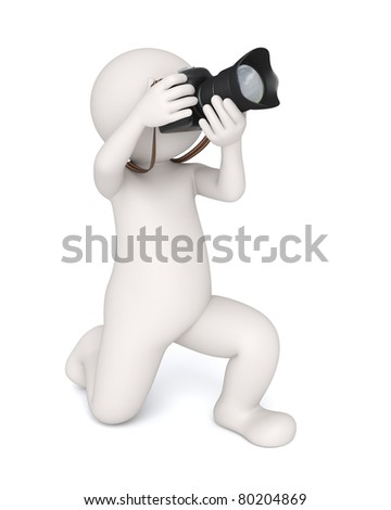 3d virtual photographer working with his digital camera -Taking the shot - Isolated - stock photo