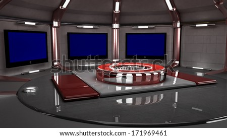 3D virtual set for news, wide angle view.