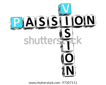 3D Vision Passion Crossword on white backgound - stock photo