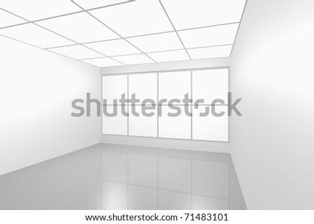 3D visualization of a modern futuristic interior empty new room - stock photo