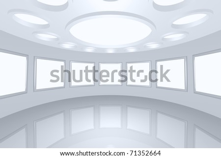 3D visualization of a modern futuristic interior picture gallery - stock photo