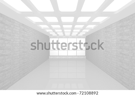 3D visualization of a modern interior empty new room - stock photo