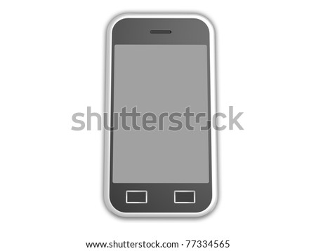 3d visualization of isolated cell phone with touch screen - stock photo