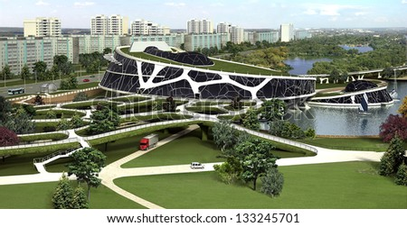 3d Visualization Eco Building Bionic Form Stock Illustration