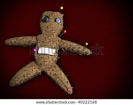 3d voodoo doll with several pins on it and a blank space to write down a name on it