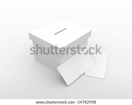 3d vote box with envelope - stock photo