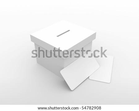 3d vote box with envelope - stock photo