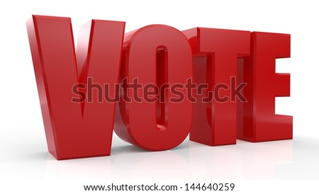 3D Vote text on white background - stock photo