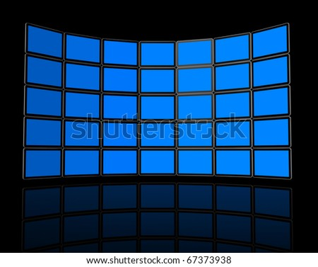 3D Wall of flat tv screens, isolated on black. With 2 clipping paths : global scene clipping path and screens clipping path to place your designs or pictures - stock photo