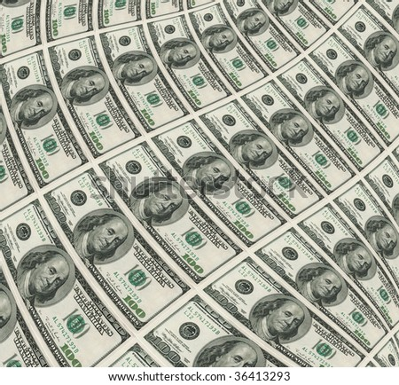 3d warped dollars background - stock photo