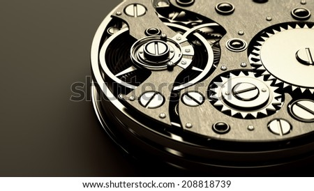 3d  watch mechanism. Close up. technology abstract background. High resolution  - stock photo