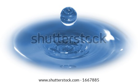 3D Water Drop.  Hi-speed photo of a water drop frozen in time after it has impacted & rebounded a body of water. - stock photo