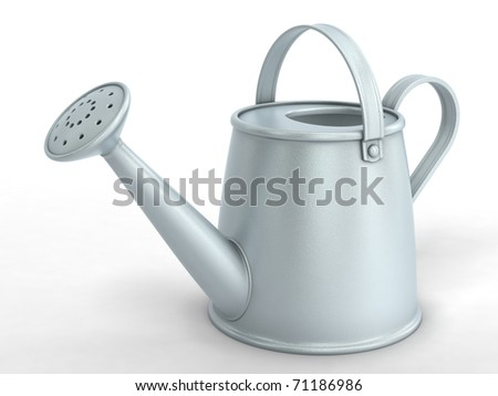 3D watering can on white background - stock photo