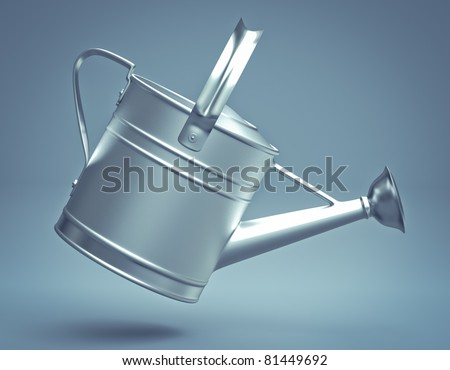 3D watering can silver on background