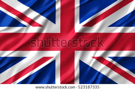 3d Waving colorful England flag render