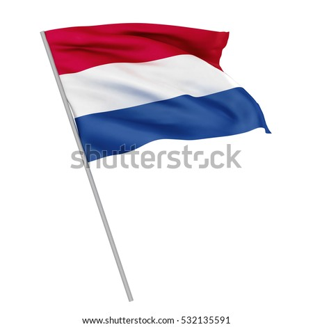 3d Waving colorful holland flag render isolated