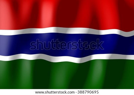 3D waving flag of Gambia. - stock photo