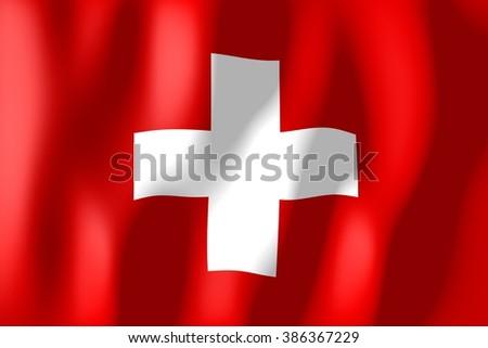 3D waving flag of Switzerland. - stock photo