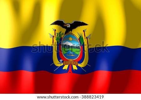 3D weaving flag concept - Ecuador. - stock photo