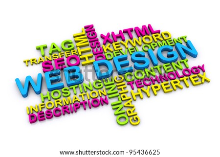 3d web design concept and other related words. isolated on white background - stock photo