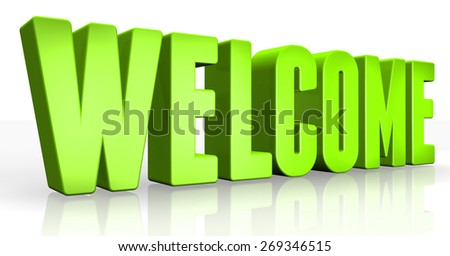 3D welcome text on white background - stock photo