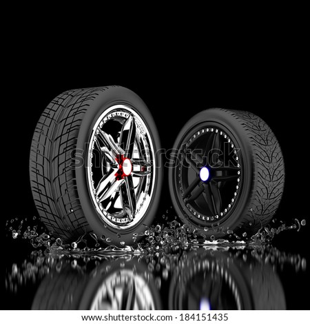 3d wheels in the water. - stock photo