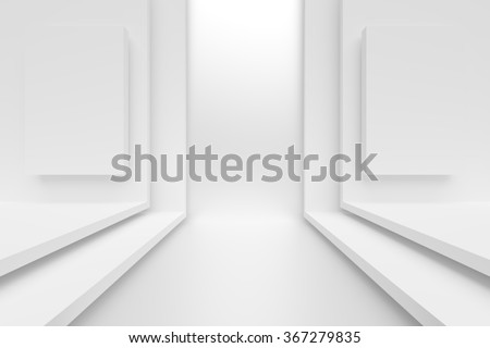 3d White Abstract Architecture Design - stock photo