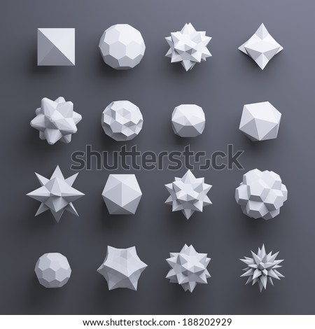 3d white abstract geometric polygonal shapes isolated on dark background - stock photo